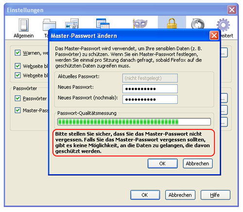 "Dialogfenster ""Master-Passwort ändern"""